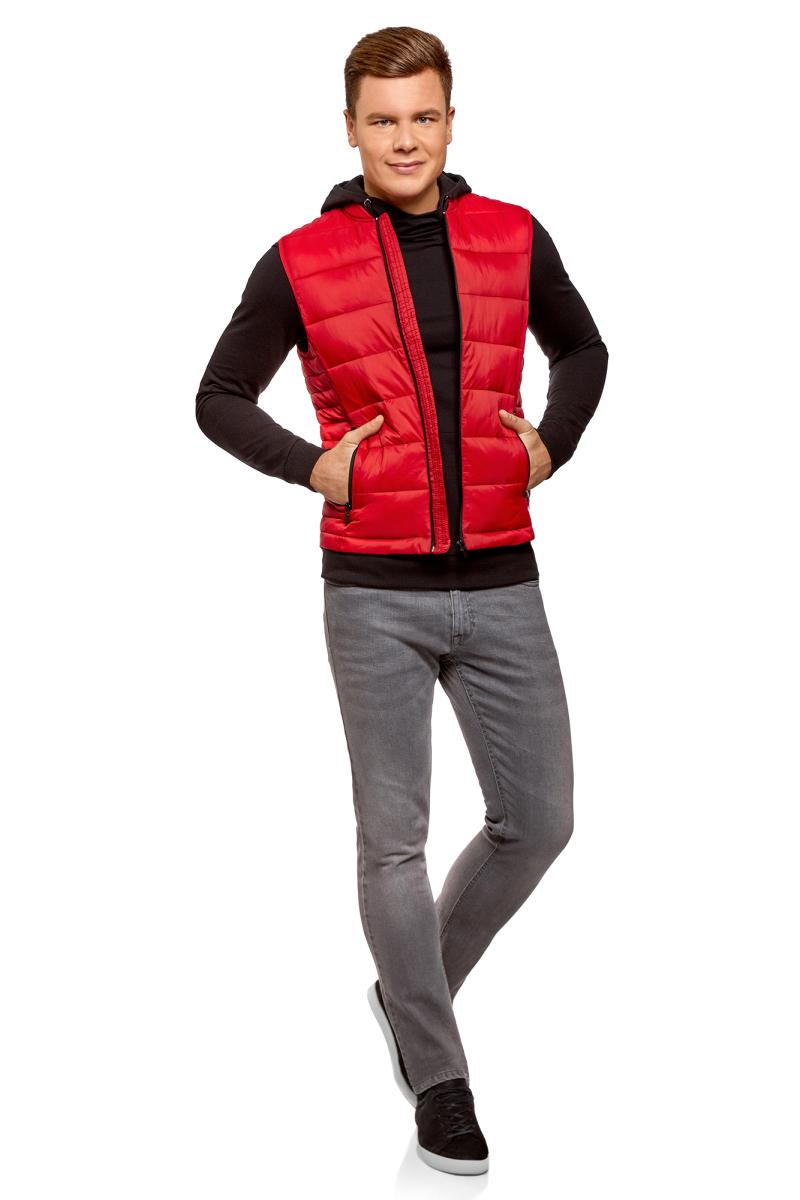 Жилет мужской oodji Basic, цвет: красный. 1B811003M/25278N/4500N. Размер XL-182 (56-182) oodji 1b112001m 25278n 7900n