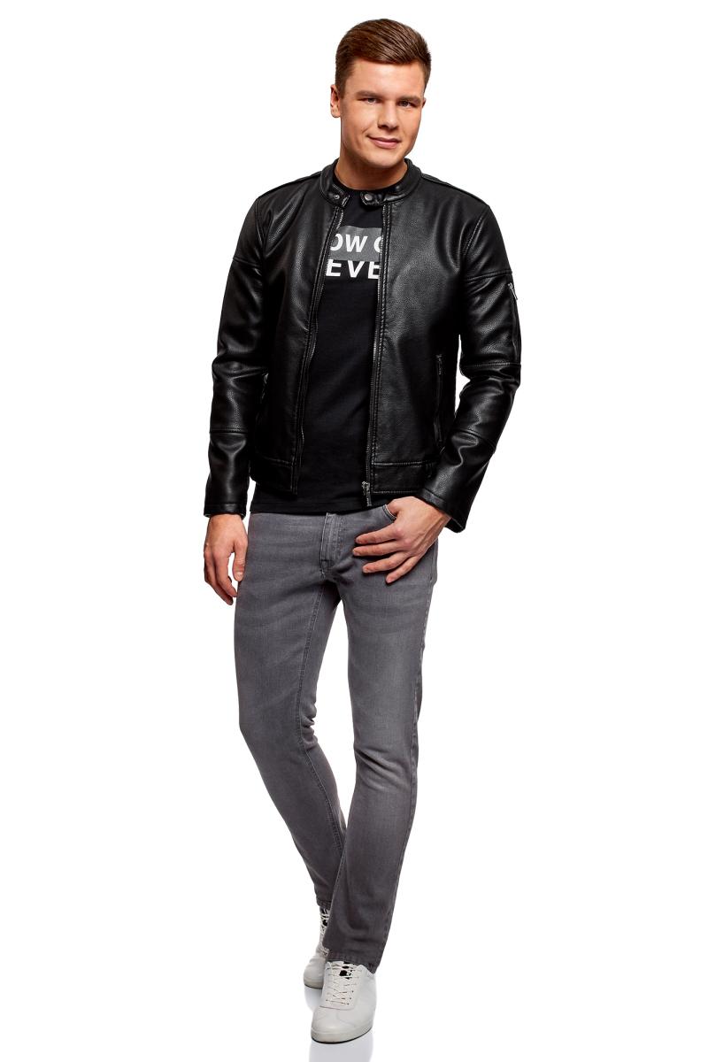 Куртка мужская oodji Lab, цвет: черный. 1L511057M/47811N/2900N. Размер S-182 (46/48-182)1L511057M/47811N/2900NКуртка из искусственной кожи с воротником-стойкой