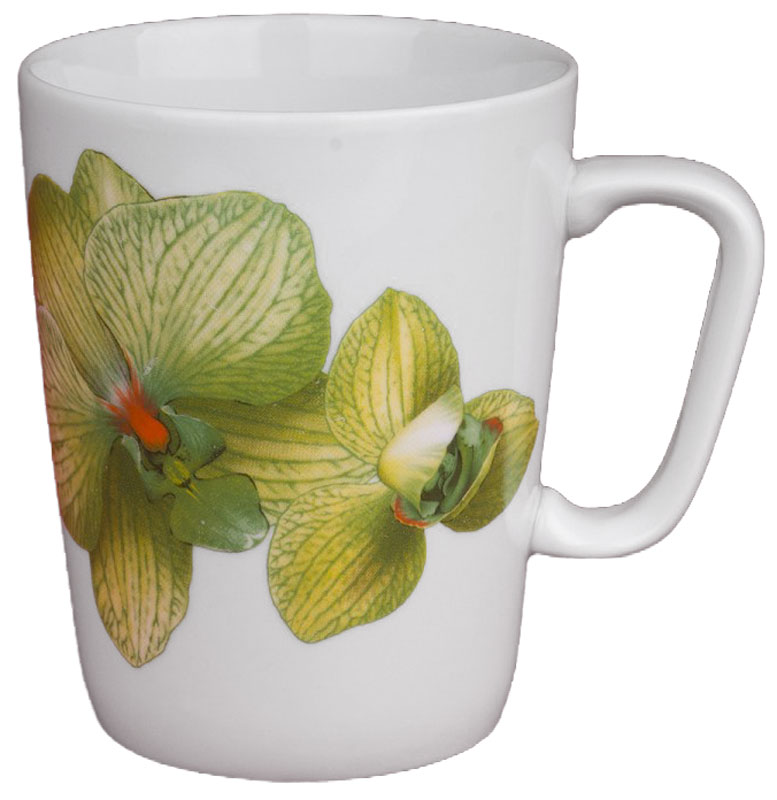 Кружка Дулевский Фарфор Конус. Орхидея зеленая, 350 мл кружка мини сувенирная 20мл фарфор