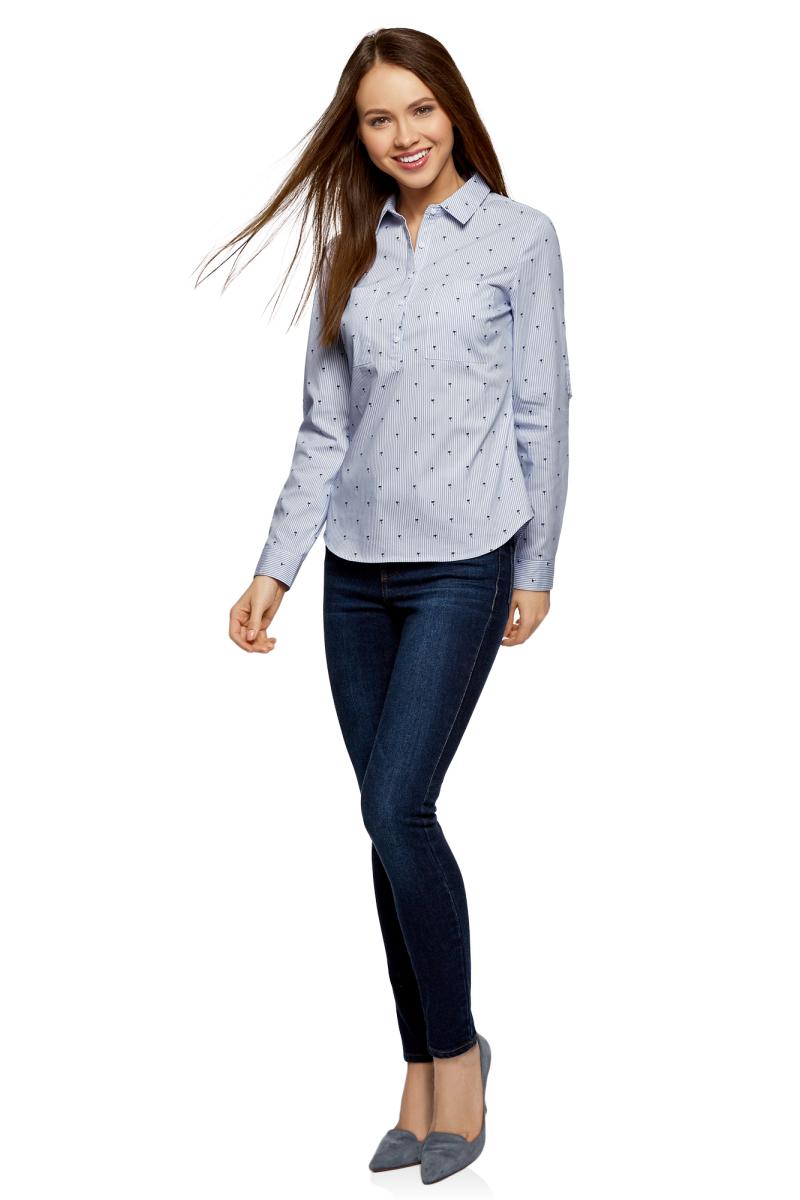 Рубашка женская oodji Ultra, цвет: белый, темно-синий. 13K03002-2B/45202/1079O. Размер 40-170 (46-170)13K03002-2B/45202/1079OРубашка принтованная с карманами