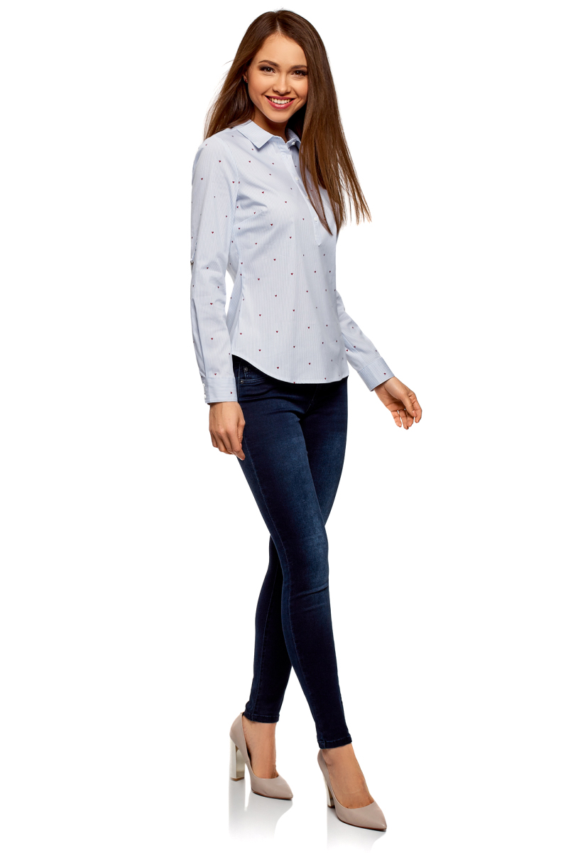 Рубашка женская oodji Ultra, цвет: белый, синий. 13K03002-3B/45202/1075O. Размер 36-170 (42-170)13K03002-3B/45202/1075OРубашка принтованная с карманами