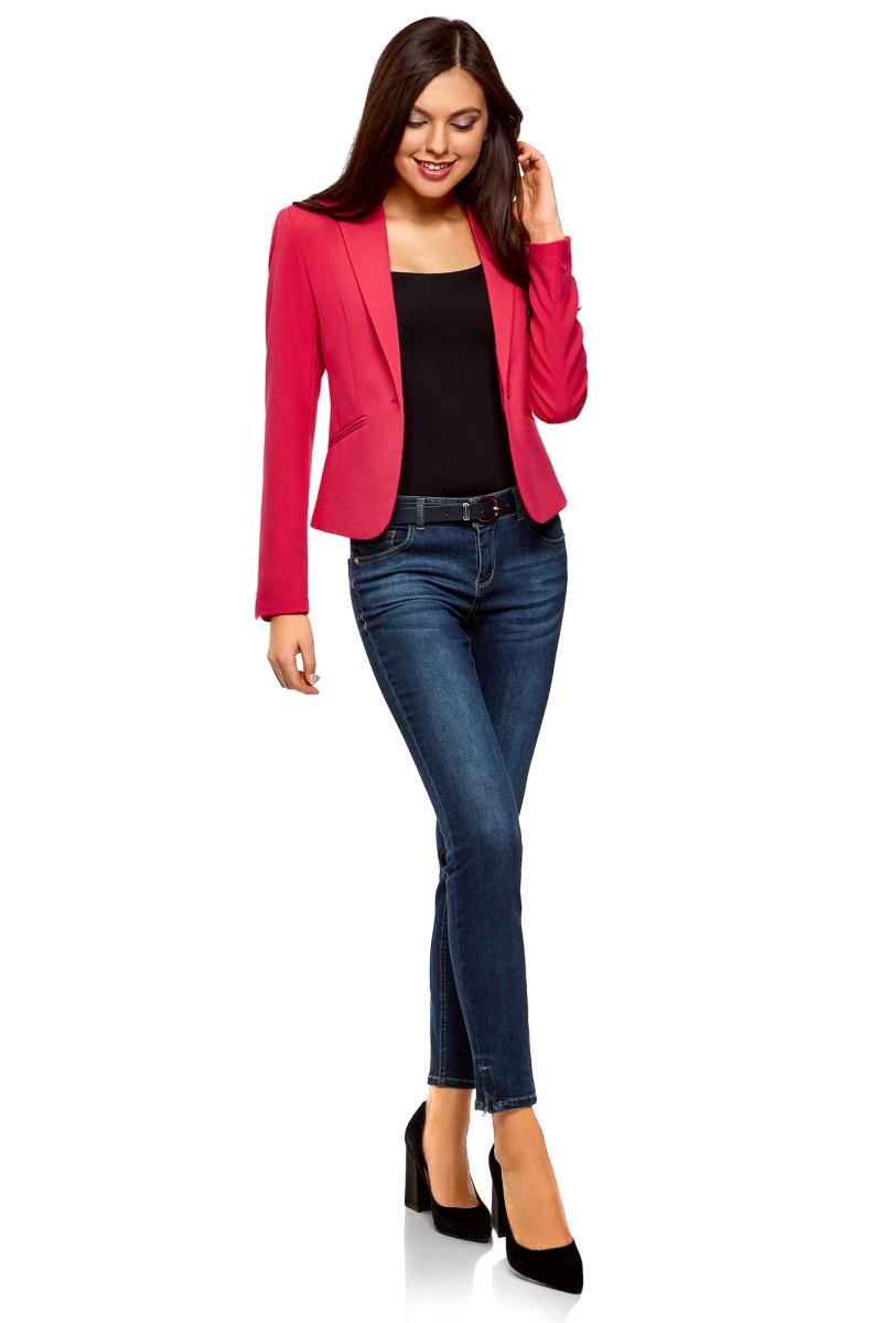 Жакет женский oodji Ultra, цвет: ярко-розовый. 11200286B/14917/4D01N. Размер 44-170 (50-170)