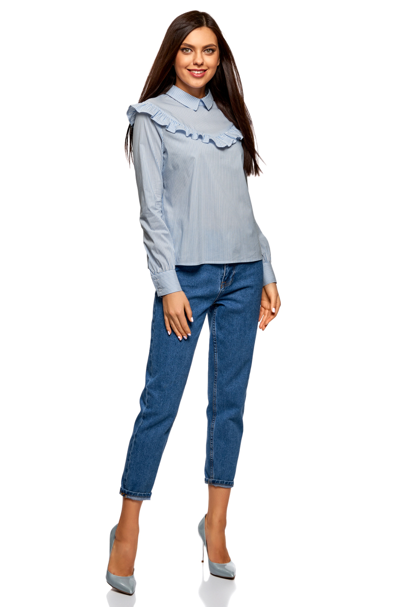 Блузка женская oodji Ultra, цвет: голубой. 11400449/47880/7510S. Размер 34-170 (40-170) блузка oodji блузка