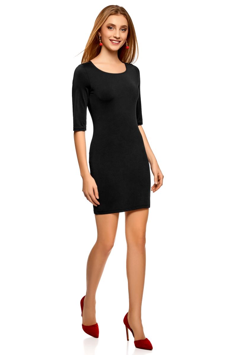 Платье oodji Ultra, цвет: черный. 14001121-4B/46943/2900N. Размер L (48)14001121-4B/46943/2900NПлатье трикотажное облегающего силуэта