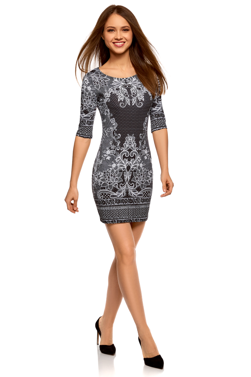 Платье oodji Ultra, цвет: черный, белый. 14001121-4B/46943/2912E. Размер S (44)14001121-4B/46943/2912EПлатье трикотажное облегающего силуэта