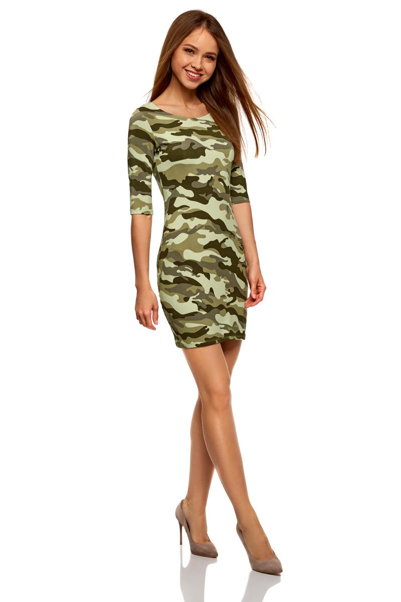 Платье oodji Ultra, цвет: светло-зеленый, темно-серый. 14001121-4B/46943/6025O. Размер L (48)14001121-4B/46943/6025OПлатье трикотажное облегающего силуэта