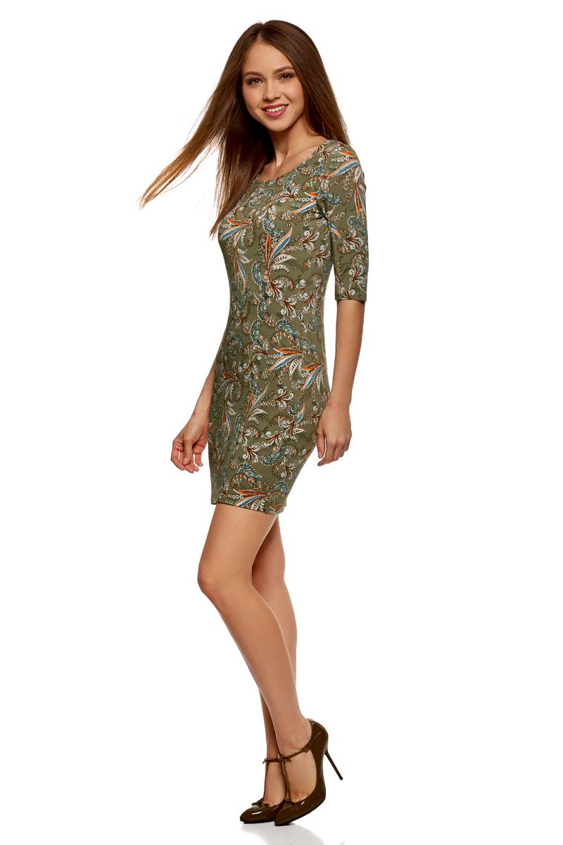 Платье oodji Ultra, цвет: хаки, оранжевый. 14001121-4B/46943/6655E. Размер XL (50)14001121-4B/46943/6655EТрикотажное платье от oodji выполнено из эластичного полиэстера. Модель облегающего кроя с короткими рукавами до локтя и круглым вырезом горловины.