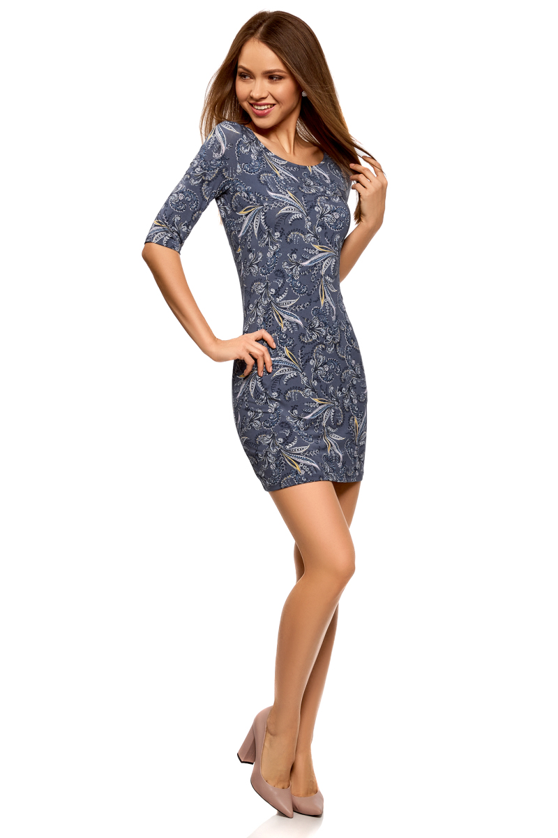 Платье oodji Ultra, цвет: синий, розовый. 14001121-4B/46943/7541F. Размер XS (42)14001121-4B/46943/7541FПлатье трикотажное облегающего силуэта