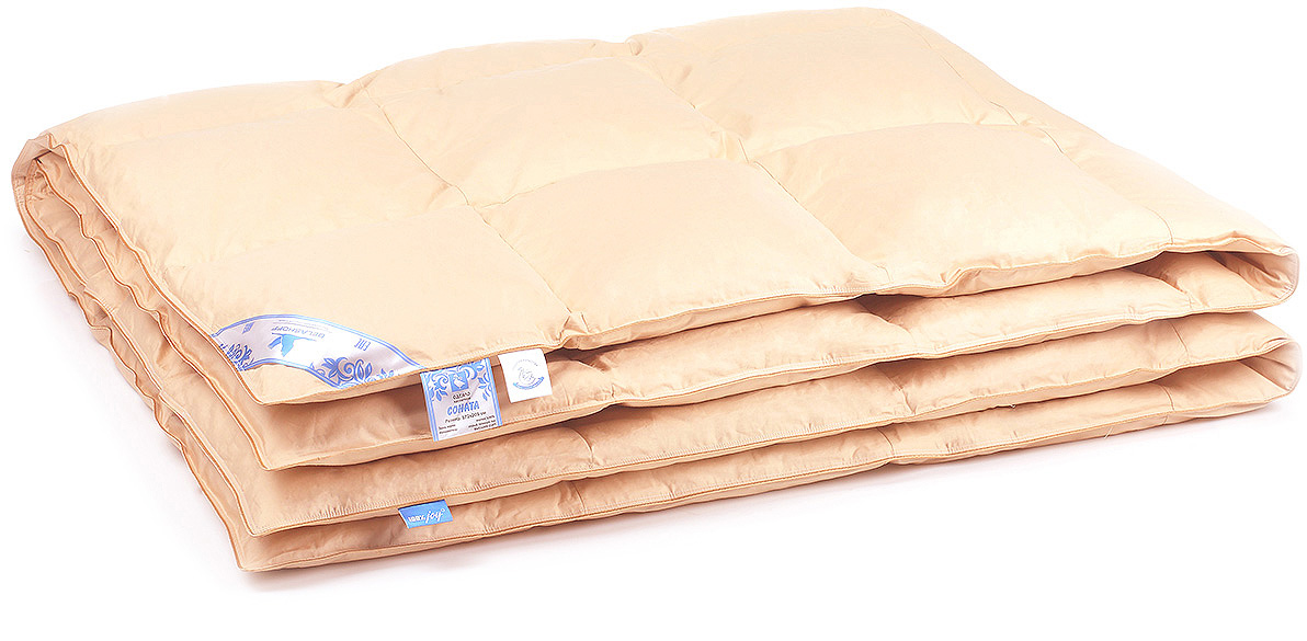 Одеяло Belashoff Соната, кассетное, цвет: бежевый, 220 х 240 смОПС 1 - 4Отличное качество наполнителя из отборного серого гусиного пуха определяет непревзойденные потребительские свойства коллекции Соната. Пух легко сжимается и принимает форму тела, окутывая благодатным теплом.