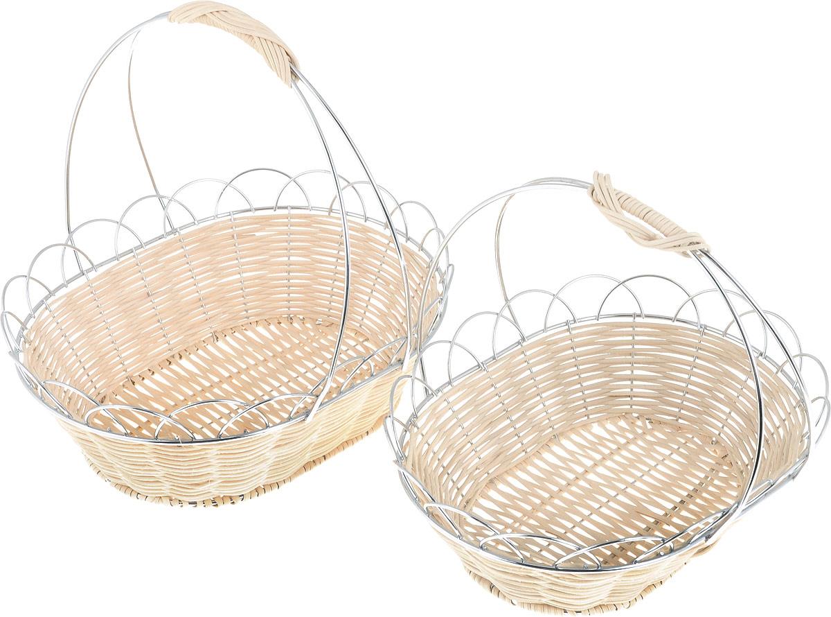 Набор ваз-корзинок Rosenberg, 2 шт. 631877.858@21360Набор ваз-корзинок Rosenberg станет прекрасным дополнением к комплекту ваших кухонных принадлежностей и отлично подойдет для сервировки столов как по особым праздникам, так и для повседневного использования. Помимо фруктов, набор можно использовать и для подачи различных сладостей: конфет, пирожных или печенья. Вазы-корзины выполнены из прочных материалов с металлическим каркасом, что гарантирует длительный срок службы и хорошую износоустойчивость. Состав набора: 2 вазы-корзины. Размер: 1-я: 27 x 22 х 25,5 см; 2-я: 24 x 19 х 21 см.