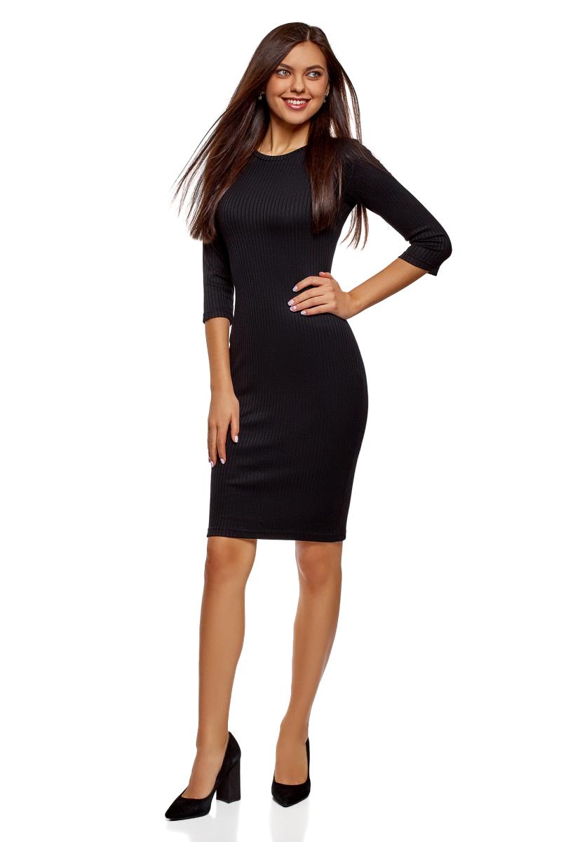 Платье oodji Ultra, цвет: черный. 14001196/46412/2900N. Размер M (46)14001196/46412/2900NТрикотажное платье от oodji в рубчик выполнено из эластичной вискозы. Модель приталенного кроя с рукавами 3/4 и круглым вырезом горловины.