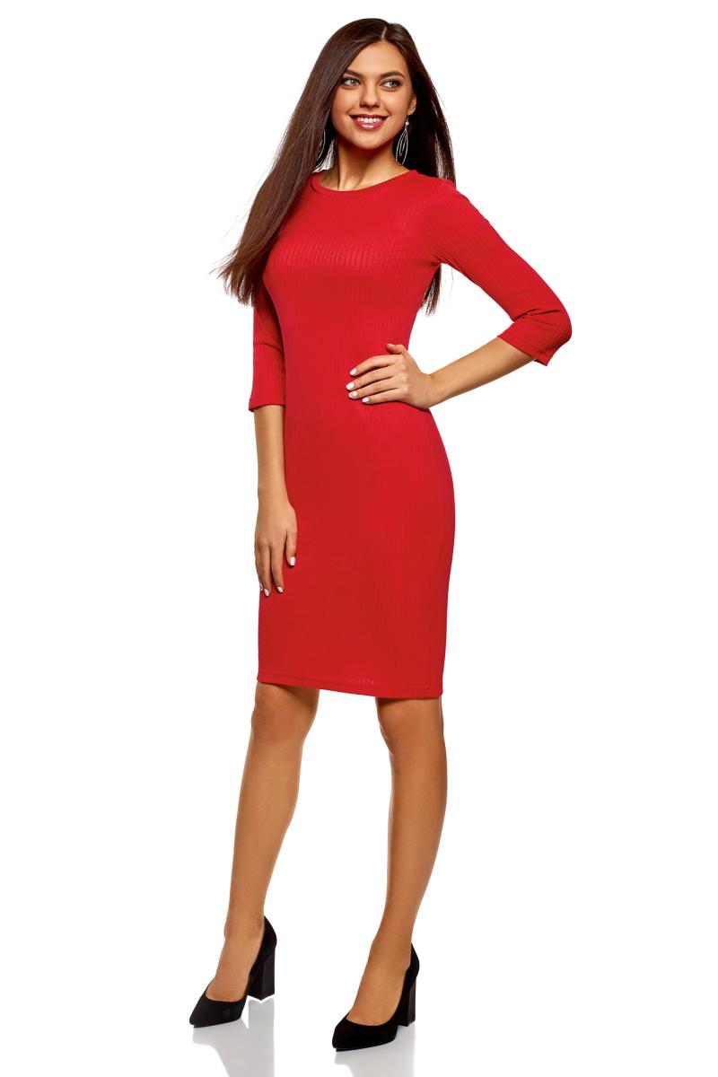 Платье oodji Ultra, цвет: красный. 14001196/46412/4500N. Размер XL (50)14001196/46412/4500NТрикотажное платье от oodji в рубчик выполнено из эластичной вискозы. Модель приталенного кроя с рукавами 3/4 и круглым вырезом горловины.