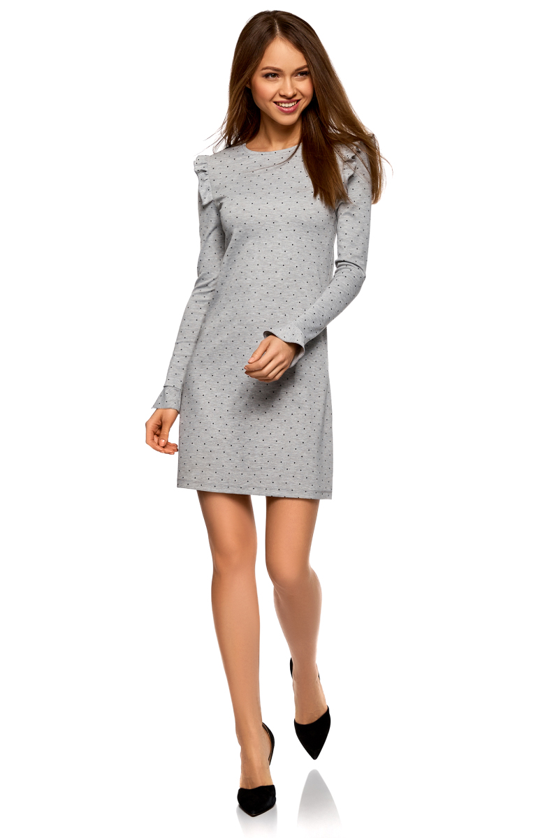 Платье oodji Ultra, цвет: серый, черный. 14001197/46944/2329D. Размер S (44) платье oodji oodji oo001ewvcg23