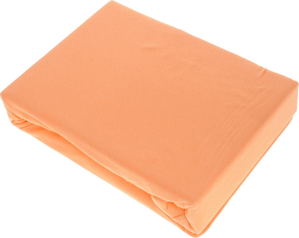 Простыня на резинке Sova & Javoronok, цвет: оранжевый, 180 см х 200 см803113697_оранжевыйПростыня на резинке Sova & Javoronok, изготовленная из трикотажной ткани (100% хлопок), будет превосходно смотреться с любыми комплектами белья. Хлопчатобумажный трикотаж по праву считается одним из самых качественных, прочных и при этом приятных на ощупь. Его гигиеничность позволяет использовать простыню и в детских комнатах, к тому же 100%-ый хлопок в составе ткани не вызовет аллергии. У трикотажного полотна очень интересная структура, немного рыхлая за счет отсутствия плотного переплетения нитей и наличия особых петель, благодаря этому простыня Сова и Жаворонок отлично пропускает воздух и способствует его постоянной циркуляции. Поэтому ваша постель будет всегда оставаться свежей. Но главное и, пожалуй, самое известное свойство трикотажа - это его великолепная растяжимость, поэтому эта ткань и была выбрана для натяжной простыни на резинке.Простыня прошита резинкой по всему периметру, что обеспечивает более комфортный отдых, так как она прочно удерживается на матрасе и избавляет от необходимости часто поправлять простыню.