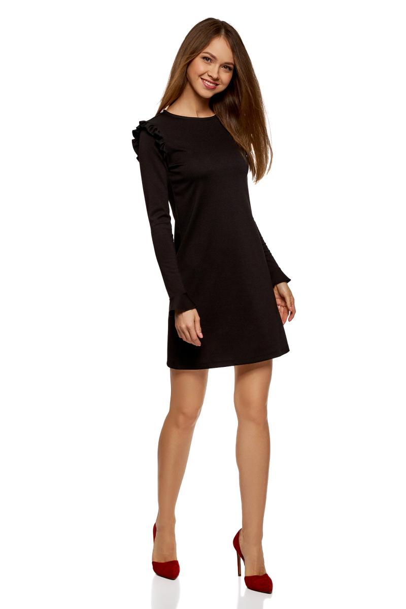 Платье oodji Ultra, цвет: черный. 14001197/46944/2900N. Размер M (46)14001197/46944/2900NТрикотажное платье от oodji выполнено из эластичной вискозы. Модель прямого кроя с длинными рукавами и круглым вырезом горловины. На плечах платье декорировано воланами, а рукава – расклешенными манжетами.