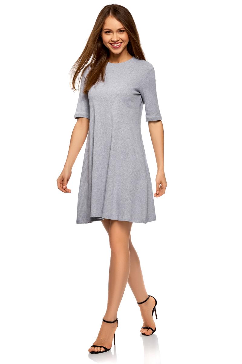 Платье oodji Ultra, цвет: светло-серый меланж. 14001198/47900/2000M. Размер XS (42)14001198/47900/2000MТрикотажное платье от oodji в рубчик выполнено из натурального хлопка. Модель А-силуэта с рукавами до локтя и круглым вырезом горловины.