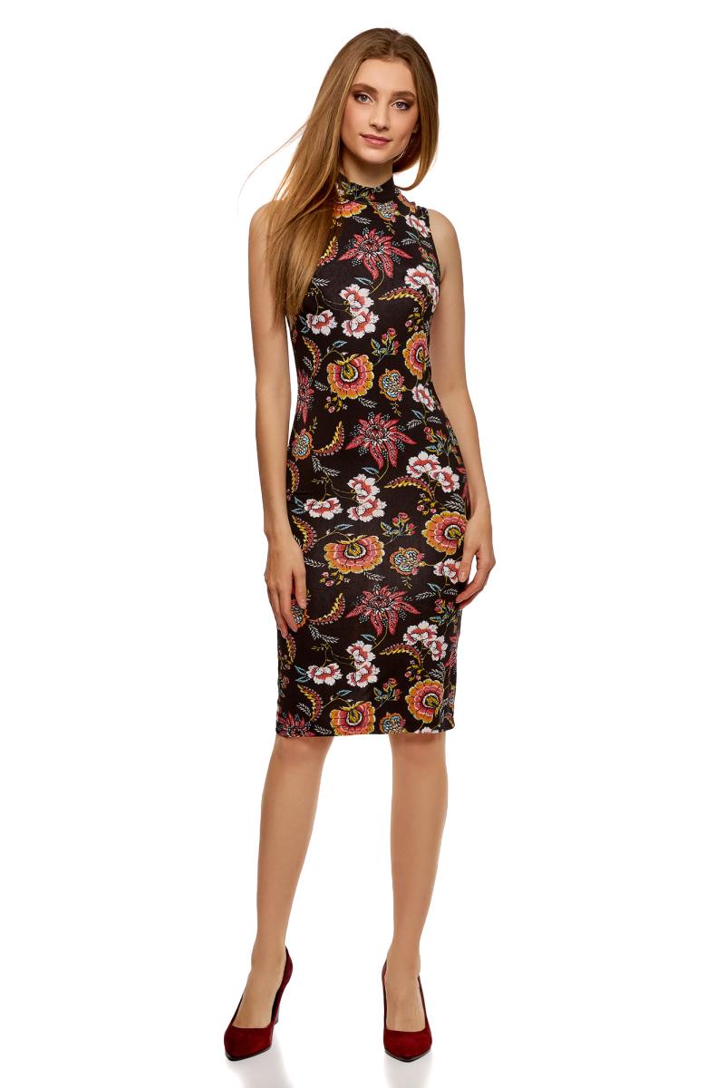 Платье oodji Ultra, цвет: черный, розовый. 14005138-3B/46943/294AF. Размер XL (50)14005138-3B/46943/294AFТрикотажное платье от oodji выполнено из эластичного полиэстера. Модель облегающего силуэта без рукавов и с воротником-стойкой.