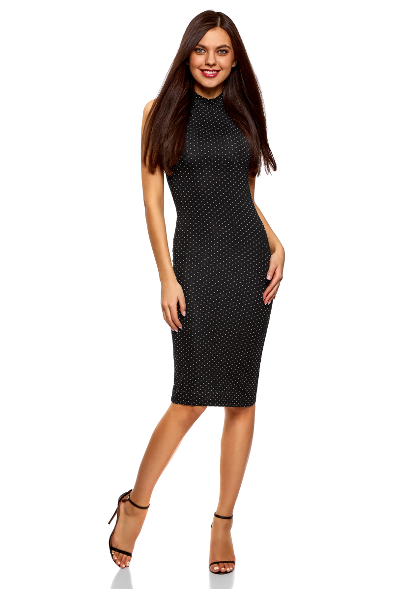 Платье oodji Ultra, цвет: черный, белый. 14005138-3B/46943/2912D. Размер L (48) платье oodji collection цвет черный белый 24001104 1 35477 1079s размер l 48