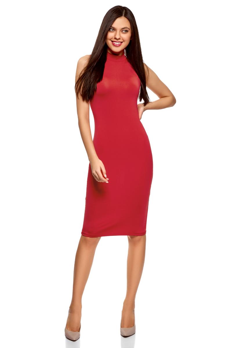 Платье oodji Ultra, цвет: красный. 14005138-3B/46943/4500N. Размер S (44)14005138-3B/46943/4500NТрикотажное платье от oodji выполнено из эластичного полиэстера. Модель облегающего силуэта без рукавов и с воротником-стойкой.
