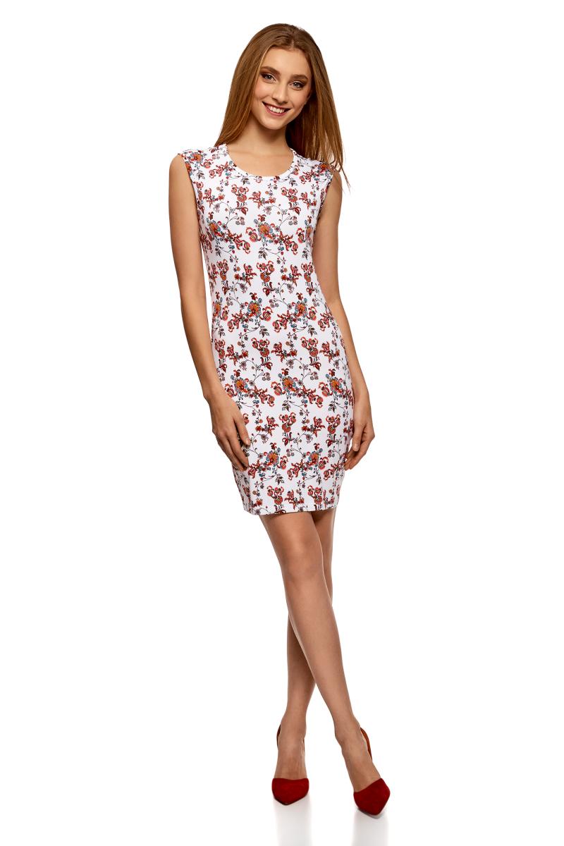 Платье oodji Ultra, цвет: белый, красный. 14008014-6B/46943/1245F. Размер L (48)14008014-6B/46943/1245FТрикотажное платье от oodji выполнено из эластичного полиэстера. Модель облегающего силуэта с короткими рукавами и круглым вырезом горловины.