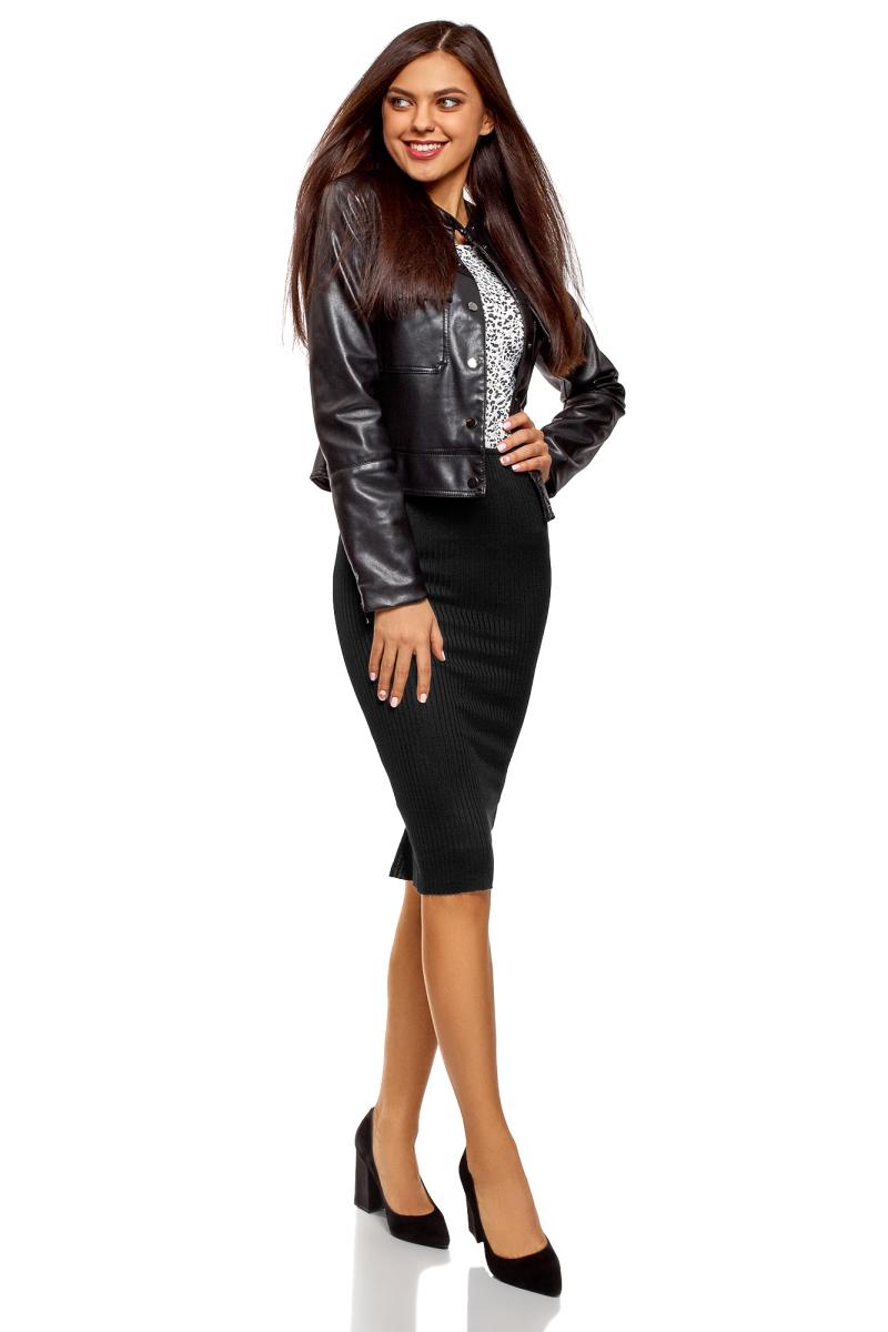 Юбка oodji Ultra, цвет: черный. 14101087/46412/2900N. Размер XXS (40)14101087/46412/2900NСтильная юбка-карандаш на резинке выполнена из ткани в рубчик. Сзади модель дополнена разрезом.