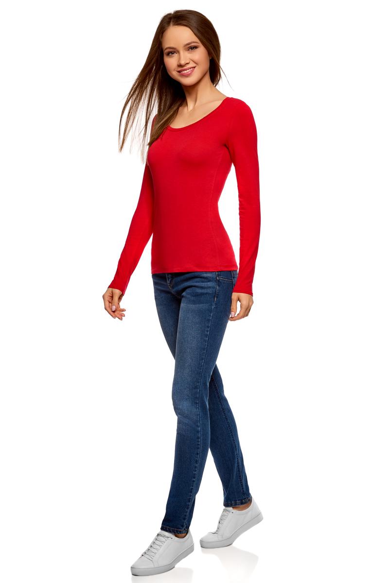 Лонгслив женский oodji Ultra, цвет: красный. 14201034B/46147/4500N. Размер L (48)14201034B/46147/4500NЖенский лонгслив выполнен из эластичной хлопковой ткани. Модель с круглым вырезом горловины и длинными стандартными рукавами.