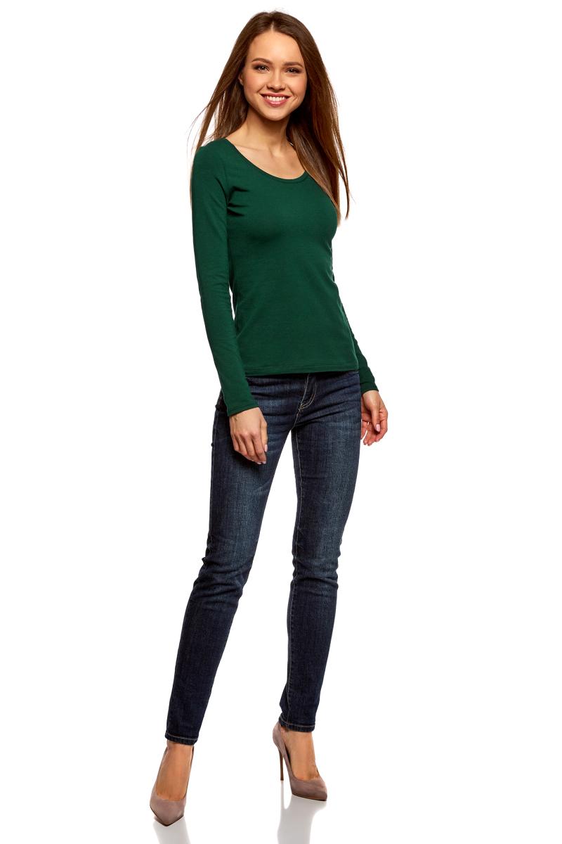 Купить Лонгслив женский oodji Ultra, цвет: темно-зеленый. 14201034B/46147/6900N. Размер S (44)