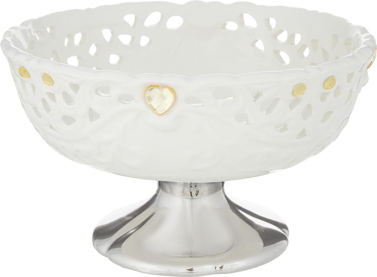 """Оригинальная конфетница """"Rosenberg"""",  изготовленная из высококачественной керамики,  украшена стразами.  Стильная форма идеально  впишется в любой интерьер.  Размер (по верхнему краю): 17 х 17 см."""