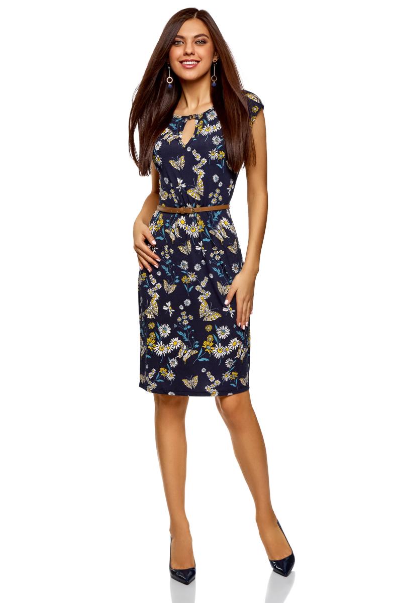 Платье oodji Collection, цвет: темно-синий, желтый. 24008033-5B/46943/7952U. Размер S (44) платье oodji collection цвет темно изумрудный терракотовый 24001070 5b 15640 6e31f размер l 48