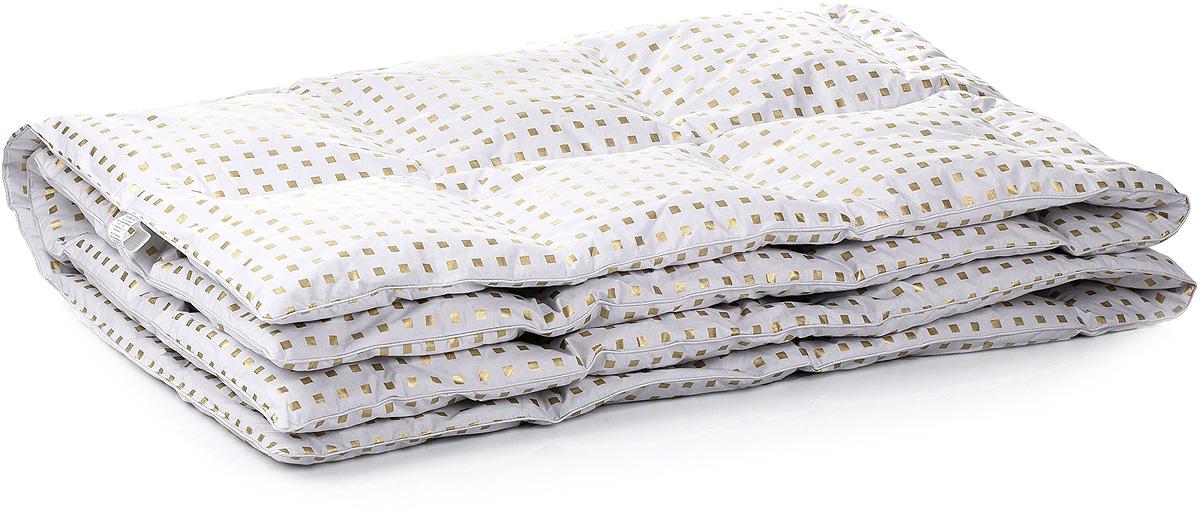 Одеяло Тихий час Пуховое, цвет: белый, золотой, 200 х 220 смТЧО 1-3Коллекция удивительно теплых одеял и мягких подушек из серого гусиного пуха. К основным достоинствам коллекции следует отнести замечательную легкость предметов в сочетании с большим объемом и пышностью. Для изготовления чехлов используется белоснежный пуходержащий жаккардный тик в аккуратный геометрический рисунок, подчеркивающий непринужденную элегантность этой коллекции.