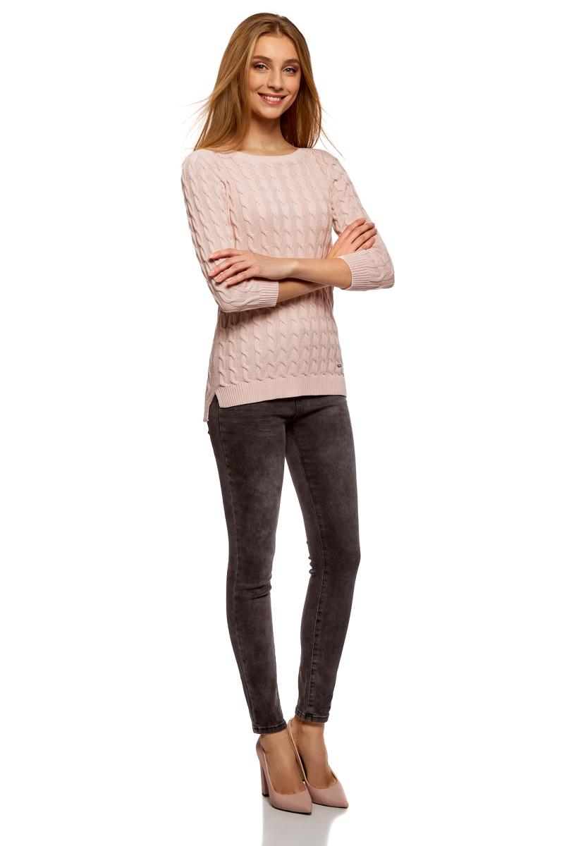 все цены на Джемпер женский oodji Ultra, цвет: светло-розовый. 63810234/45219/4000N. Размер S (44) онлайн
