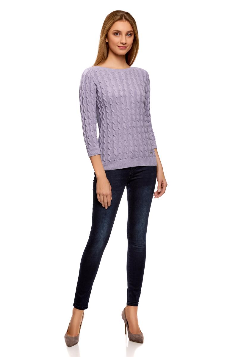 Джемпер женский oodji Ultra, цвет: сиреневый меланж. 63810234/45219/8000M. Размер S (44) пуловеры oodji пуловер