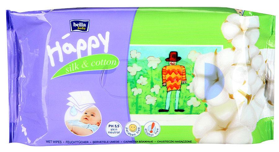 Bella Влажные салфетки Baby Happy Шелк и Хлопок, 64 штPA-81272507Влажные салфетки Bella Baby Happy Шелк и Хлопок с протеинами шелка очищаюти увлажняют кожу ребенка. Содержащийся в них экстракт хлопка обладает защитными свойствами иуспокаивает раздражения. Салфетки обладают нейтральным pH, благодаря чемусохраняется естественный защитный барьер кожи. Предназначены для ухода зателом младенцев и детей. Салфетки не содержат спирта. Товар сертифицирован.Уважаемые клиенты! Обращаем ваше внимание на то, что упаковка может иметь несколько видов дизайна.Поставка осуществляется в зависимости от наличия на складе.
