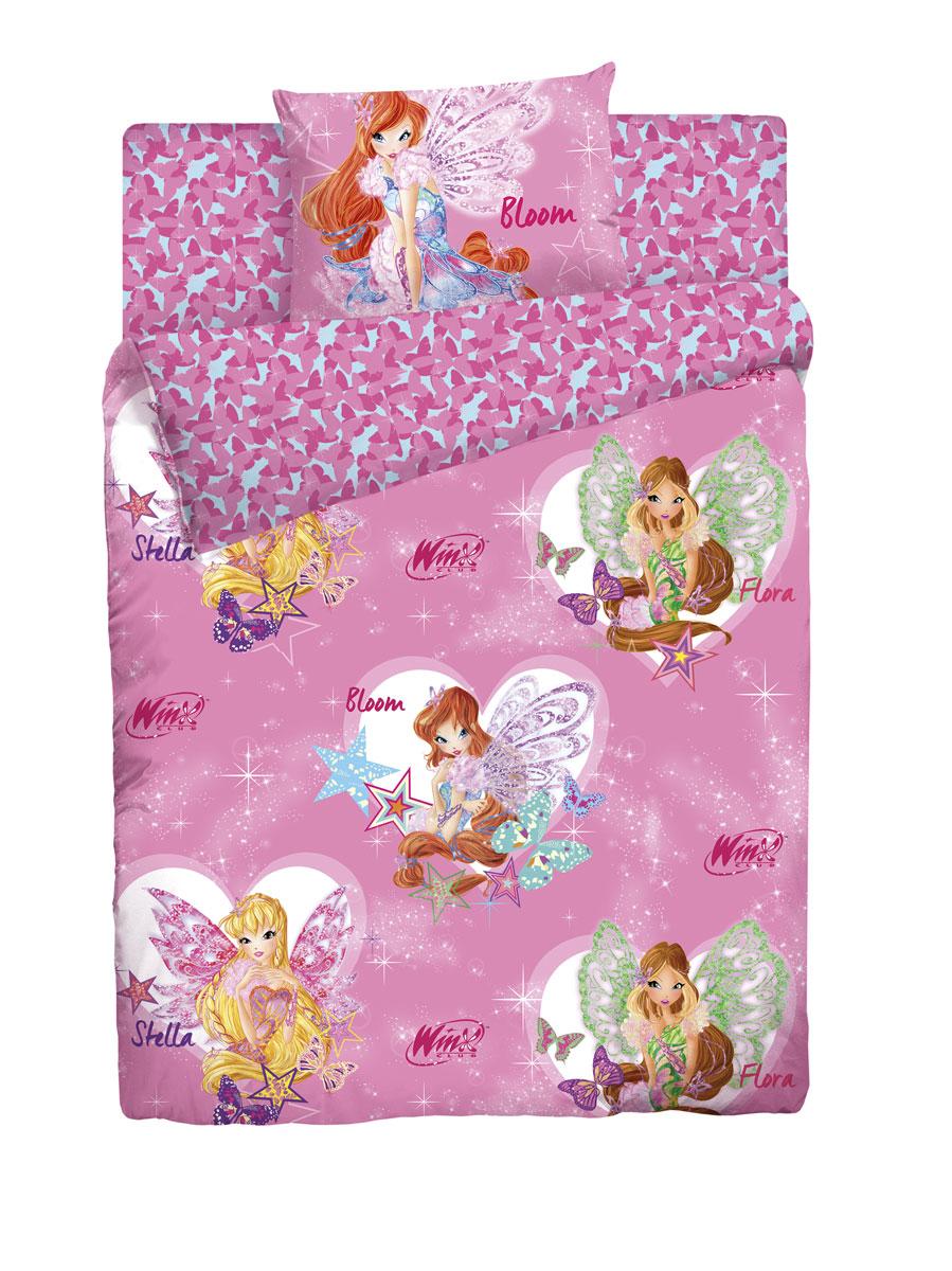 Комплект белья детский Winx, 1,5-спальный, наволочка 70x70, цвет: розовый86483Невероятно красочное постельное белье Winx с рисунками по мотивам известного мультфильма украсит детскую комнату и подарит ребенку отличное настроение на весь день.Этот комплект выполнен из поплина, отличается прекрасной прочностью и подходит для ежедневного использования. Белье имеет гладкую матовую поверхность, которая очень приятна на ощупь и выглядит одинаково эстетично с лицевой и изнаночной стороны. Постельное белье великолепно сохраняет яркость красок и даже после многочисленных стирок выглядит так, будто куплено вчера.В комплект входят наволочка, простыня и пододеяльник.Комплект станет замечательным дополнением к интерьеру детской комнаты.