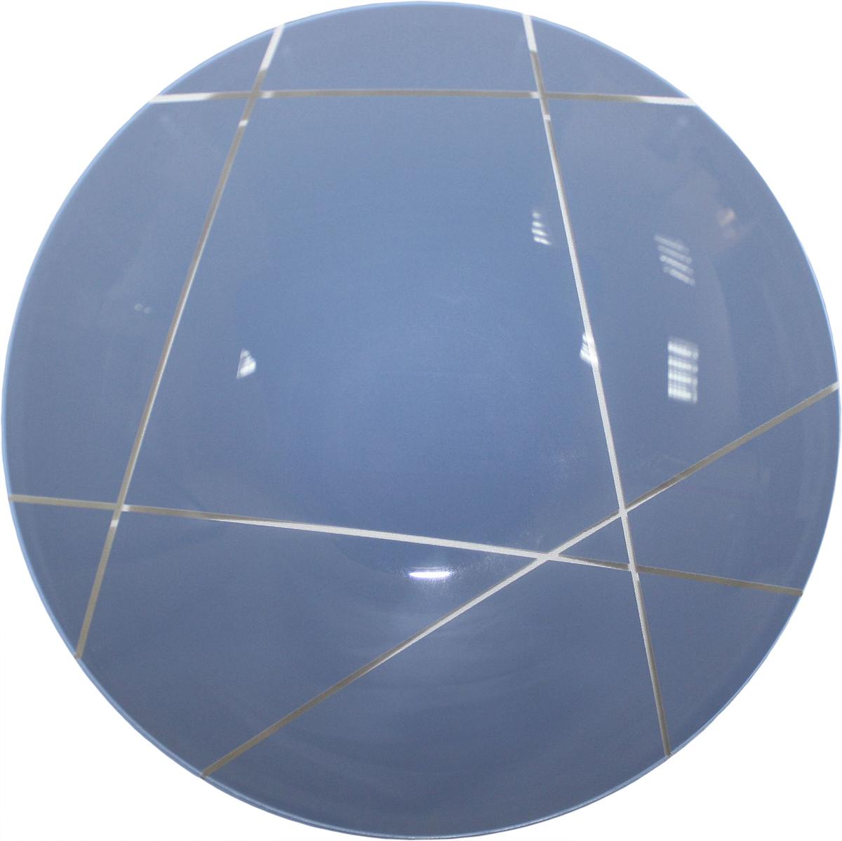 Тарелка глубокая NiNaGlass Контур, цвет: голубой, диаметр 22 см85-225-002псТарелка NiNaGlass Конус выполнена из высококачественного стекла и оформлена красивым прозрачным геометрическим принтом. Тарелка идеальна для подачи вторых блюд, а также сервировки закусок, нарезок, салатов, овощей и фруктов. Она отлично подойдет как для повседневных, так и для торжественных случаев. Такая тарелка прекрасно впишется в интерьер вашей кухни и станет достойным дополнением к кухонному инвентарю.