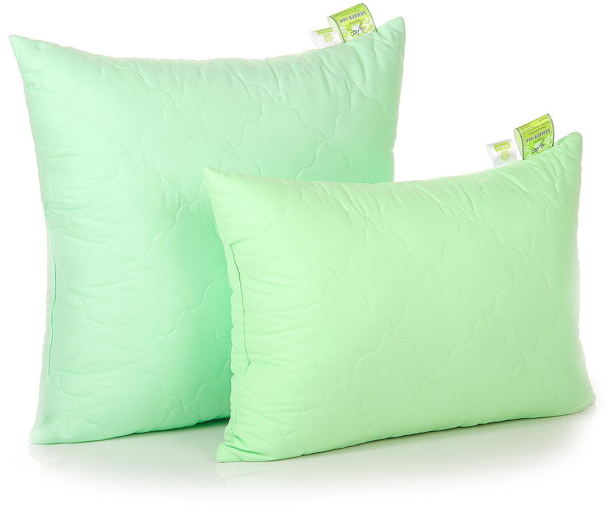 Подушка Belashoff Бамбук-Эко, цвет: зеленый, 50 х 70 смПБ 2 - 2Коллекция Бамбук-Эко — облегченный вариант изделий с наполнителем из бамбукового волокна: одеяло, стеганое фантазийными узорами стежки, идеально подходит для летнего сезона, а использование современных синтетических тканей повышает износостойкость изделий.