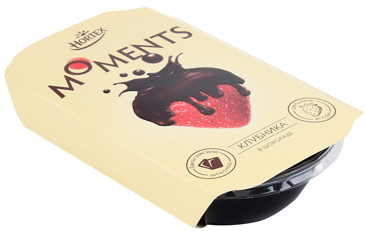 Hortex Moments Клубника в темном шоколаде, замороженная, 100 г вишня замороженная без косточки в донецке
