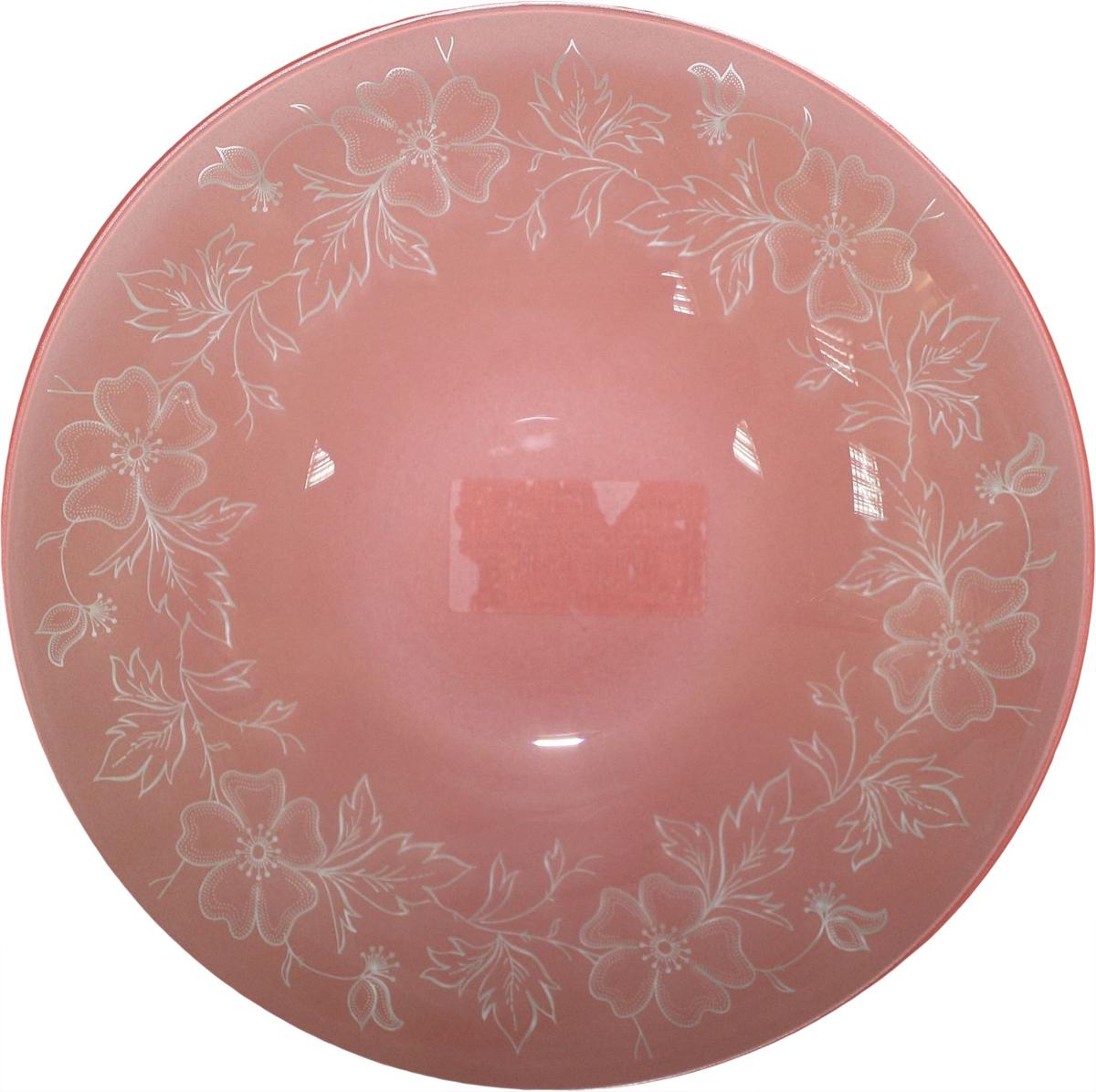 Тарелка глубокая NiNaGlass Лара, цвет: розовый, диаметр 22 см85-225-075пкТарелка NiNaGlass Лара выполнена из высококачественного стекла и оформлена красивым цветочным узором. Тарелка идеальна для подачи вторых блюд, а также сервировки закусок, нарезок, салатов, овощей и фруктов. Она отлично подойдет как для повседневных, так и для торжественных случаев. Такая тарелка прекрасно впишется в интерьер вашей кухни и станет достойным дополнением к кухонному инвентарю.