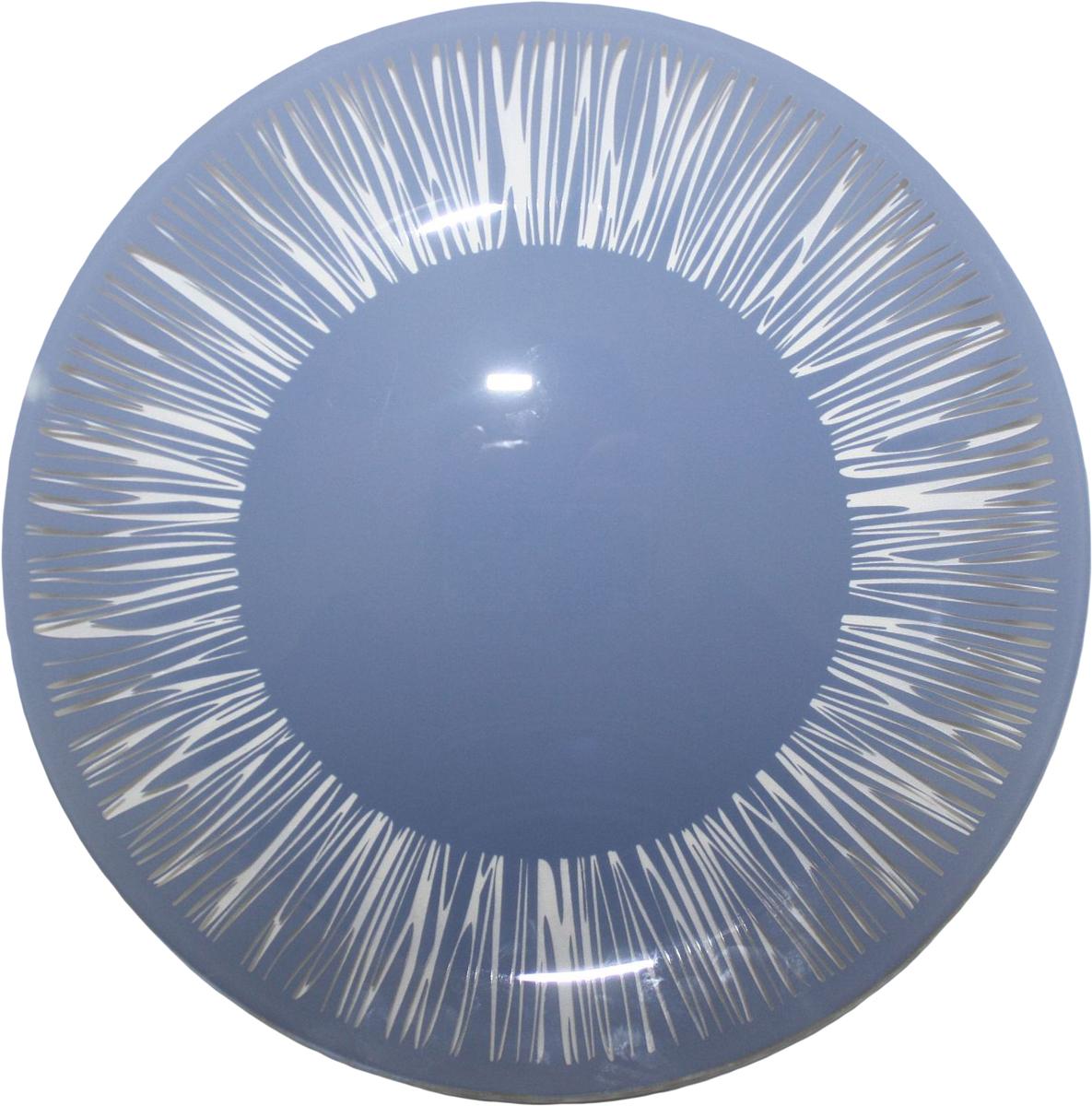 Тарелка NiNaGlass Витас, цвет: голубой, диаметр 30 см85-300-016псТарелка NiNaGlass Витас изготовлена из высококачественного стекла. Изделие декорировано оригинальным дизайном. Такая тарелка отлично подойдет в качестве блюда, она идеальна для сервировки закусок, нарезок, горячих блюд. Тарелка прекрасно дополнит сервировку стола и порадует вас оригинальным дизайном.