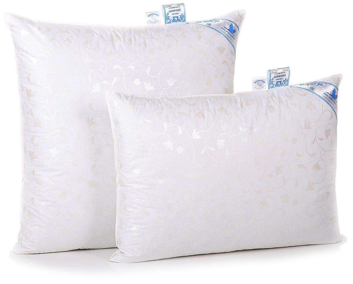 Подушка Belashoff Комфорт, средняя, цвет: белый, 68 х 68 смПП 1 - 1 СКоллекция Комфорт заинтересует потребителей, располагающих скромным бюджетом и ценящих высокое качество пухового наполнителя, прошедшего тщательную обработку.Одеяло хорошо сохраняет тепло, подушка легко восстанавливает свою форму, а уникальное свойство поглощения и выделения влаги позволяет наслаждаться спокойным безмятежным сном.