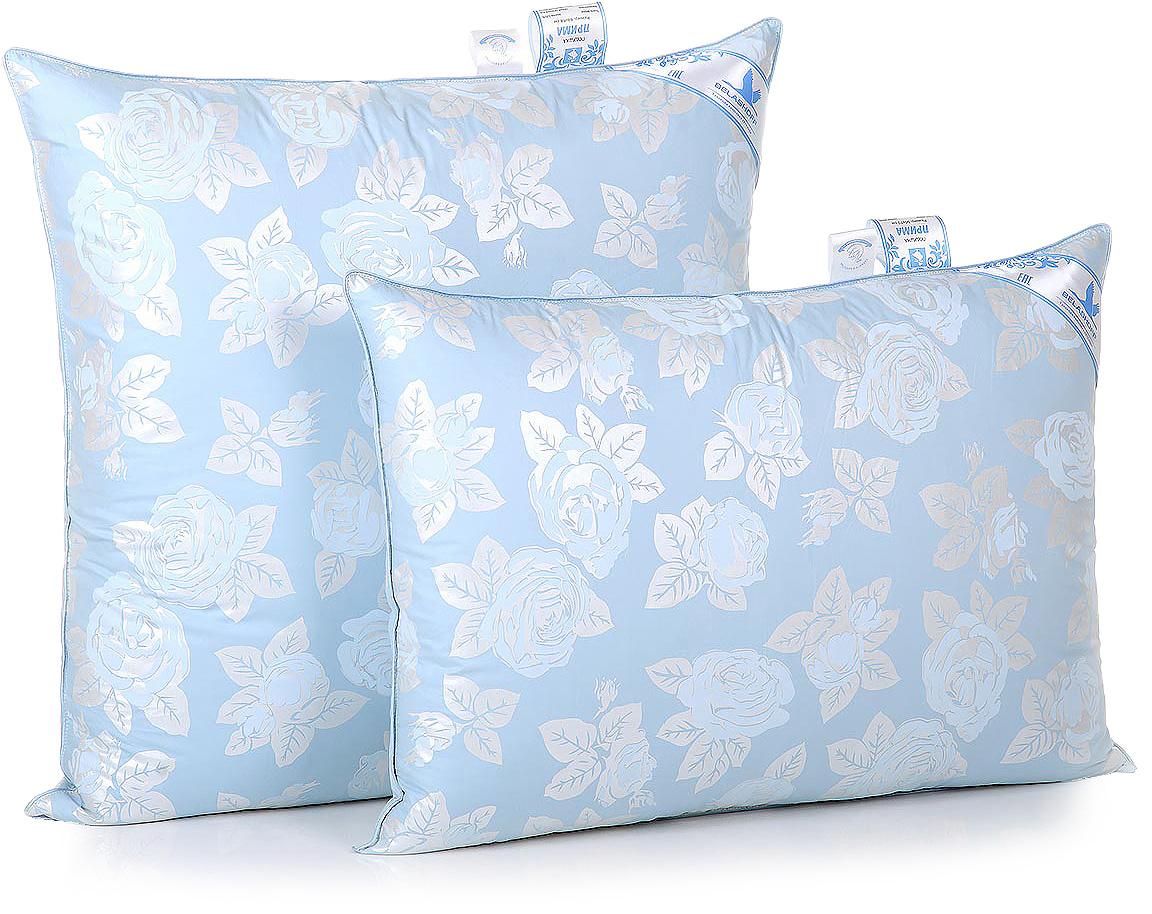 Подушка Belashoff Прима, средняя, цвет: голубой, 68 х 68 смП 2 - 1 СОсобо высокая легкость и изящество отличает изделия с наполнителем из пуха водоплавающей птицы. Коллекция Прима — неоспоримое тому доказательство. Обладая великолепными теплозащитными свойствами, это одеяло согреет Вас даже в самую холодную ночь, а мягкая и упругая подушка обеспечит оптимальную поддержку головы во время сна.