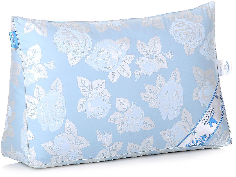 Подушка Belashoff Прима, цвет: голубой, 37 х 57 х 17 смП 2 - 2 ТОсобо высокая легкость и изящество отличает изделия с наполнителем из пуха водоплавающей птицы. Коллекция Прима — неоспоримое тому доказательство. Обладая великолепными теплозащитными свойствами, это одеяло согреет Вас даже в самую холодную ночь, а мягкая и упругая подушка обеспечит оптимальную поддержку головы во время сна.