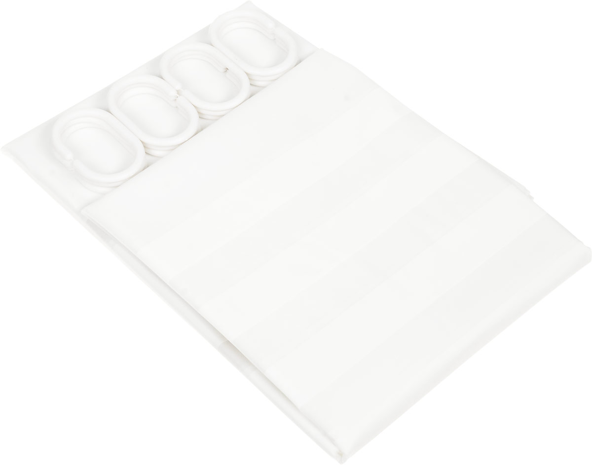 Штора для ванной Vanstore Полоски, кольцами, 180 х 180 см620-23Штора Vanstore Полоски, выполненная из ПЕВА и EVA (вспененный этиленвинилацетат),оформлена оригинальным рисунком. Она надежно защитит от брызг и капель пространствовашей ванной комнаты в то время, пока вы принимаете душ. В верхней кромке шторыпредусмотрены отверстия для пластиковых колец (входят в комплект). Оригинальный дизайн шторы наполнит вашу ванную комнату положительной энергией.