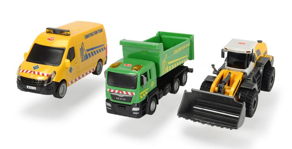 Dickie Toys Набор строительной техники 3 машинки цвет желтый зеленый dickie toys dickie toys радиоуправляемые машинки трансформер grimlock