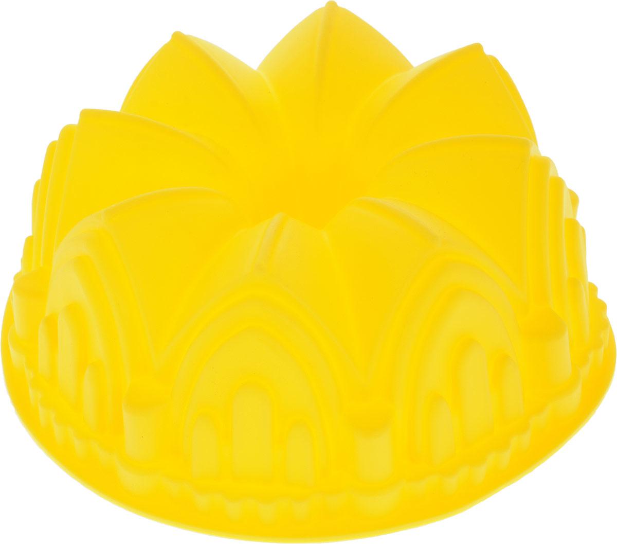 Форма для выпечки Доляна Замок, цвет: желтый, 22 х 8 см651943_желтыйФорма для выпечки из силикона - современное решение для практичных и радушных хозяек. Оригинальный предмет позволяет готовить в духовке любимые блюда из мяса, рыбы, птицы и овощей, а также вкуснейшую выпечку!Почему это изделие должно быть на кухне?- блюдо сохраняет нужную форму и легко отделяется от стенок после приготовления,- высокая термостойкость (от - 40 до 230° С) позволяет применять форму в духовых шкафах и морозильных камерах,- небольшая масса делает эксплуатацию предмета простой даже для хрупкой женщины,- силикон пригоден для посудомоечных машин,- высокопрочный материал делает форму долговечным инструментом,- при хранении предмет занимает мало места.Советы по использованию формы:- перед первым применением промойте предмет теплой водой,- в процессе приготовления используйте кухонный инструмент из дерева, пластика или силикона,- перед извлечением блюда из силиконовой формы дайте ему немного остыть, осторожно отогните края предмета.Готовьте с удовольствием!