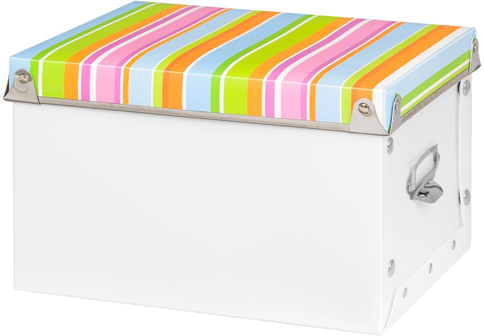 Коробка для хранения El Casa Яркие полоски, 22,5 х 18 х 14 см680011Короб для хранения El Casa изготовлен из полипропилена. Такой оригинальный короб прекрасно подойдет для хранения бытовых мелочей, аксессуаров для рукоделия и других мелких предметов. С ним все мелкие вещи будут храниться аккуратно и не потеряются.Оснащен крышкой.