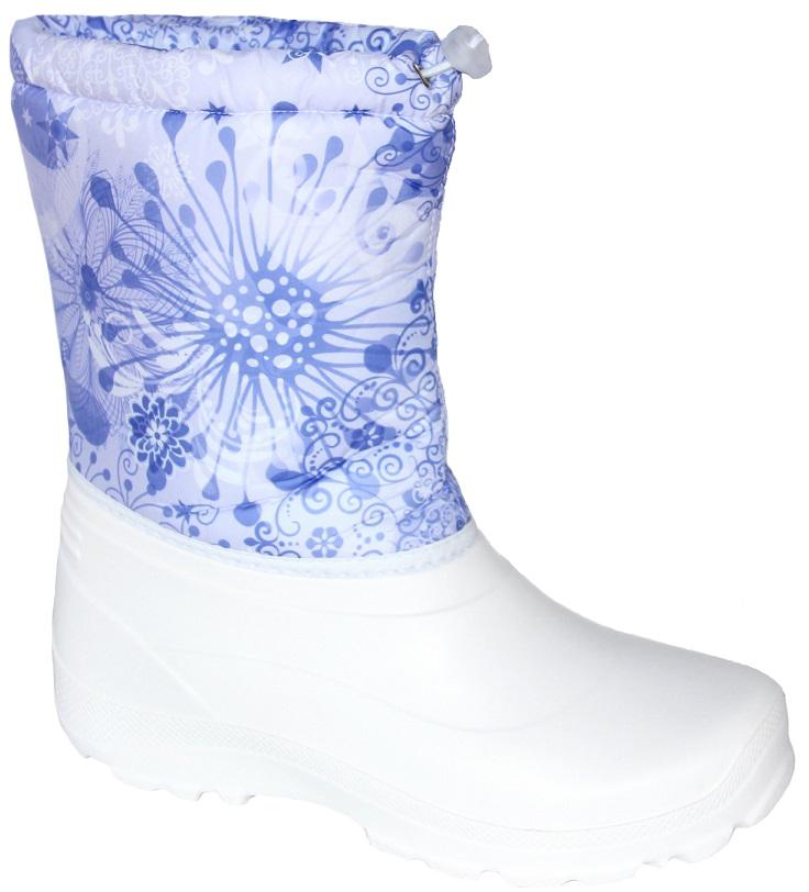 Сапоги женские Дарина Зимушка, цвет: белый. Размер 40-41Д404/40-41белыйЗимние сапоги Зимушкаудобные, теплые. Выдержат морозы до -20С. Удобный шнур-резинка позволяет плотно зафиксировать сапог вокруг ноги и не позволит снегу попасть внутрь сапога. Вид литья: цельнолитьевое.Высота: 25 см.Вес: 0,5 кг. Температурный режим: -20.Сырье продукта: ЭВА.Материал подошвы: ЭВА.Cостав текстильного элемента: фиксатор, люверсы, шнур-резина.Название ткани: Оксфорд 210 + ППУ.Свойства ткани Оксфорд (Oxford) – это прочная ткань из синтетических волокон (нейлона или полиэстера) определенной структуры с нанесенным полиуретановым покрытием (PU или PVC). Это покрытие обеспечивает водонепроницаемость ткани оксфорд и препятствует накоплению грязи между волокнами. Рулонный пенополиуретан (ППУ) широко используется в обувной промышленности.Не съёмный.Кол-во слоев: 3.Вид ткани: ворсин + стелька ЭВА.Состав ткани однослойное ворсованное полотно из полиэстера. Поверхностная плотность 400 г/м2. Используется как альтернатива искусственному меху.Швы 0,5-0,7.Технология шва стачной шов с открытым срезом, стачной шов с обметанным срезом, окантовка верхнего среза тесьмой.Сезон: зима.