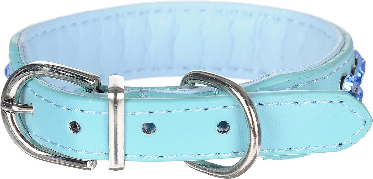 Ошейник для собак GLG, цвет: голубой, 2 х 32 см. Размер M модуль памяти dimm 8gb ddr4 pc19200 2400mhz kingston kvr24n17s8 8