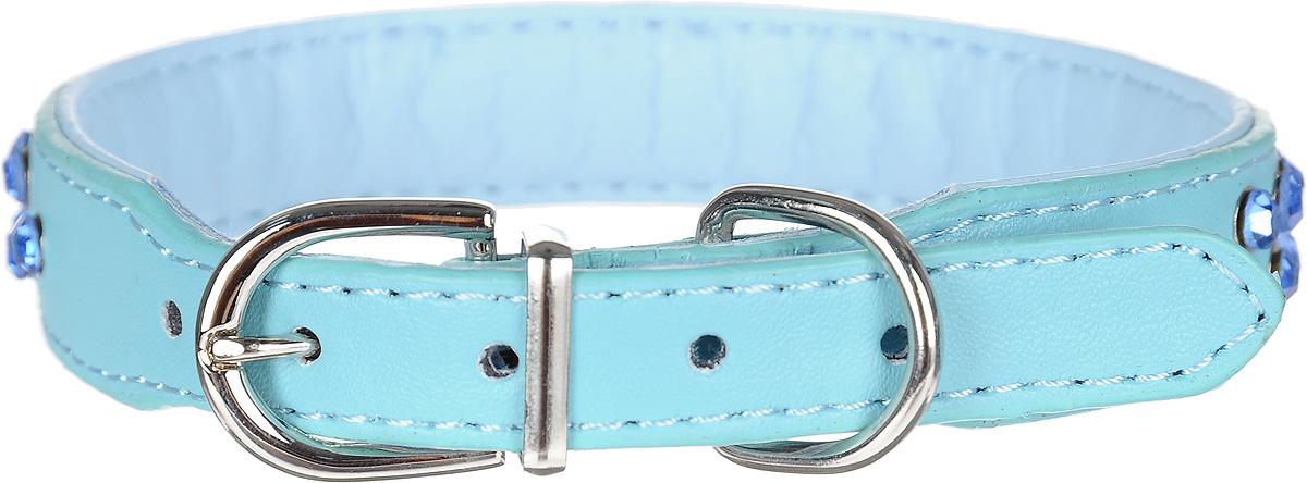 Ошейник для собак GLG, цвет: голубой, 2 х 40 см. Размер LAMG0819-40-BОшейник GLG изготовлен из искусственной кожи. Клеевой слой, сверхпрочные нити, крепкие металлические элементы делают ошейник надежным и долговечным. Изделие отличается высоким качеством, удобством и универсальностью.Размер ошейника регулируется при помощи металлической пряжки. Имеется металлическое кольцо для крепления поводка. Ваша собака тоже хочет выглядеть стильно! Модный ошейник, декорированный стразами, станет для питомца отличным украшением и выделит его среди остальных животных. Обхват шеи: 40 см. Ширина: 2 см.