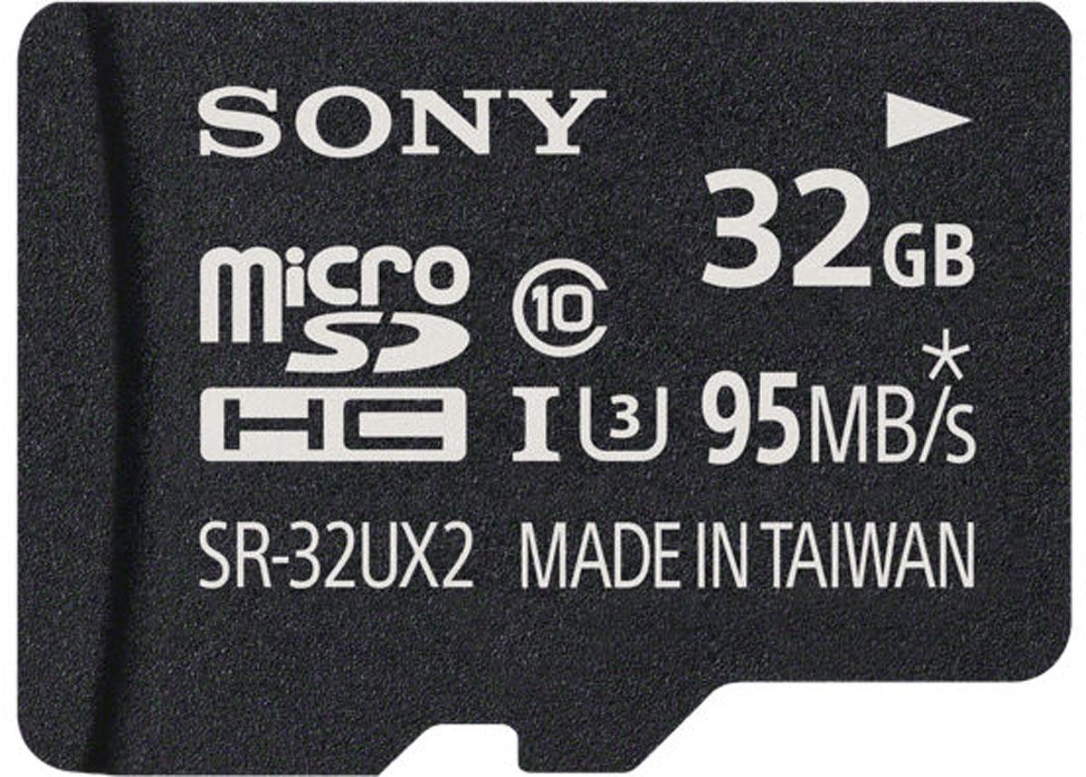 Sony SR-UX2A microSDHC Class 10 UHS-1 U3 32GB карта памяти с адаптеромSR-32UX2AMicroSD-карта памяти Sony UHS-I Speed Class 3 (U3) отличается высокой производительностью и способна с легкостью справиться с любыми потоками данных. Благодаря рекордным показателям скорости записи и чтения, этот носитель позволяет записывать видео сверхвысокого разрешения в 4K и 3D-формате, а также существенно экономить время при переписывании больших файлов на компьютер.